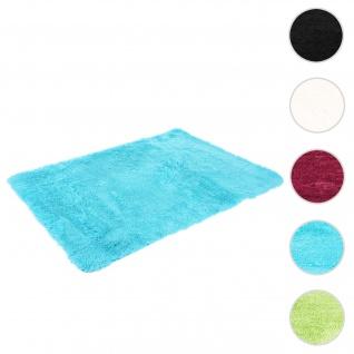 Teppich HWC-F69, Shaggy Läufer Hochflor Langflor, Stoff/Textil flauschig weich 230x160cm ~ türkis