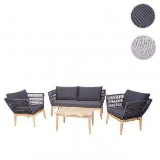 Gartengarnitur HWC-H55, Lounge-Set Sofa Sitzgruppe, Seilgeflecht Massivholz Akazie Spun Poly ~ Kissen dunkelgrau