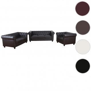 Luxus 3-2-1 Sofagarnitur Chesterfield Kunstleder ~ runde Füße, braun