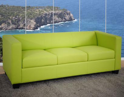 3er Sofa Couch Loungesofa Lille ~ Kunstleder, hellgrün