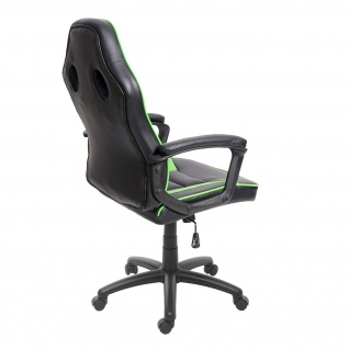 Bürostuhl HWC-F59, Schreibtischstuhl Drehstuhl Racing Chair Gaming-Chair, Kunstleder ~ schwarz/grün - Vorschau 5