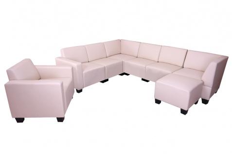 Sofa-System Couch-Garnitur Lyon 6-1-1, Kunstleder ~ creme