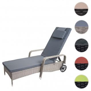 Poly-Rattan Sonnenliege Carrara, Relaxliege Gartenliege Liege, Alu ~ grau, Kissen dunkelgrau