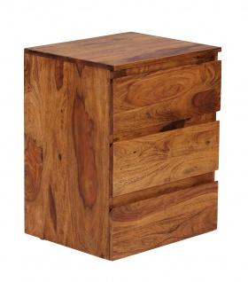 Rollcontainer Malatya, Rollschrank Bürocontainer, Sheesham Massivholz, 61x48x40cm