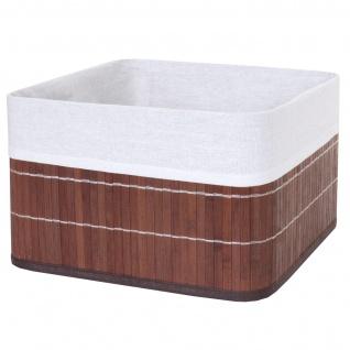 4x Aufbewahrungskorb HWC-C21, Korb Aufbewahrungsbox Ordnungsbox Sortierbox Regalkorb, Bambus braun - Vorschau 2