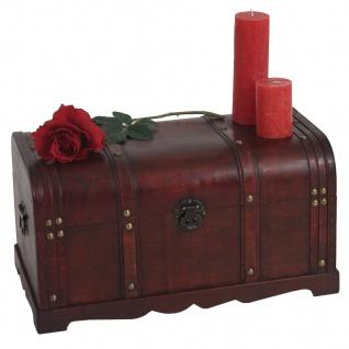 Holztruhe Holzbox Valence Antikoptik 30x57x29cm ~ rund