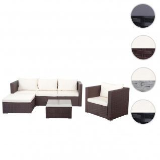Poly-Rattan-Garnitur Brescia, Gartengarnitur Sitzgruppe Sofa Lounge-Set ~ braun, Kissen creme