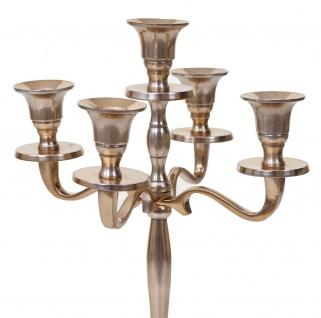 Kerzenleuchter HWC-D81, Kerzenständer Leuchter Kerzenhalter, 5-armig aus Aluminium 31cm massiv 0, 6kg ~ Farbe: Gold - Vorschau 3