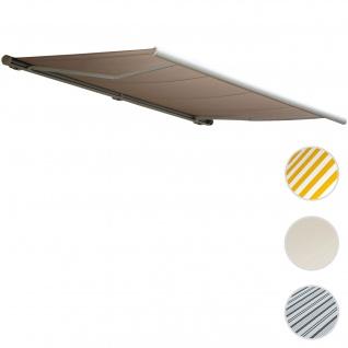 Elektrische Kassettenmarkise T122, Markise Vollkassette 4x3m ~ Polyester Sand