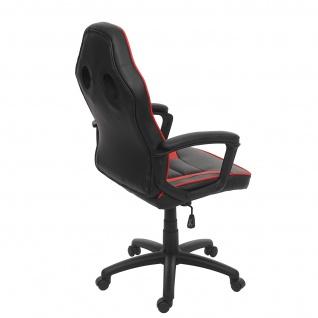 Bürostuhl HWC-F59, Schreibtischstuhl Drehstuhl Racing-Chair Gaming-Chair, Kunstleder ~ schwarz/rot - Vorschau 4