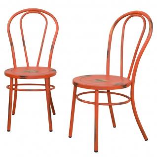 2x Esszimmerstuhl H160, Lehnstuhl Stuhl Metallstuhl, Shabby Look, Factory Design ~ rot