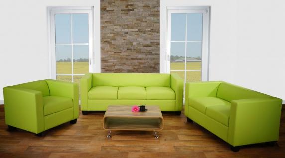 3-2-1 Sofagarnitur Couchgarnitur Loungesofa Lille ~ Kunstleder, hellgrün