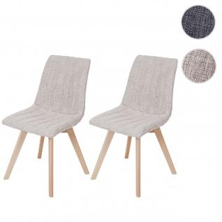 2x Esszimmerstuhl Calgary, Stuhl Lehnstuhl, Retro 50er Jahre Design, Stoff/Textil creme
