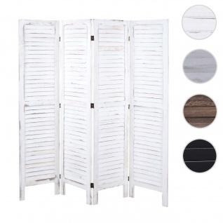 Paravent HWC-G30, Trennwand Sichtschutz Raumteiler, Shabby-Look 170x162cm ~ weiß