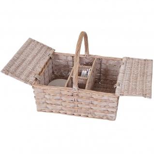 Picknickkorb-Set für 4 Personen, Picknicktasche, Porzellan Glas Edelstahl, Holz