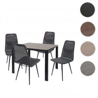 Gartengarnitur HWC-F90, Sitzgruppe Balkon-/Lounge-Set, WPC-Tischplatte 4xPoly-Rattan Stuhl+Tisch 90x90cm ~ grau