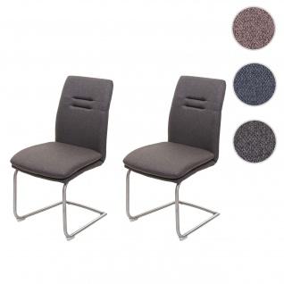 2x Esszimmerstuhl HWC-H70, Küchenstuhl Freischwinger Lehnstuhl Stuhl, Stoff/Textil Edelstahl gebürstet ~ grau-braun