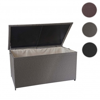 Poly-Rattan Kissenbox HWC-D88, Gartentruhe Auflagenbox Truhe ~ Premium grau, 80x160x94cm 950l