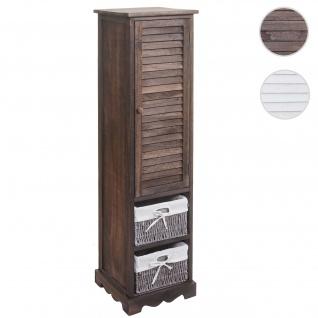 Badezimmerkommode HWC-H20, Badezimmer Schrank Badschrank Badregal, 120x27x29cm Massiv-Holz ~ shabby braun