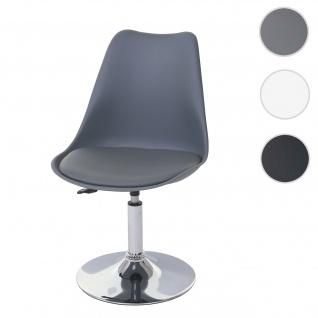 Drehstuhl Malmö T501, Stuhl Küchenstuhl, höhenverstellbar, Kunstleder ~ dunkelgrau, Chromfuß - Vorschau 1