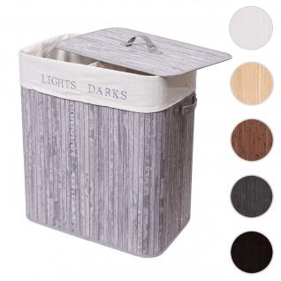 Wäschekorb HWC-C21, Laundry Wäschebox Wäschesammler Wäschebehälter, Bambus 2 Fächer 63x55x34cm 100l ~ grau-blau