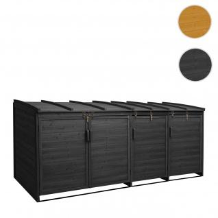 XL 4er-/8er-Mülltonnenverkleidung HWC-H75, Mülltonnenbox, erweiterbar 116x66x92cm Holz FSC-zertifiziert ~ anthrazit