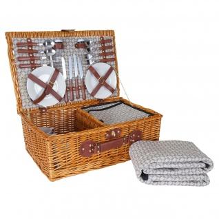 Picknickkorb-Set HWC-B25 für 4 Personen, Weiden-Korb + Kühlfach + Picknickdecke, Porzellan Edelstahl