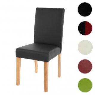 Esszimmerstuhl Littau, Küchenstuhl Stuhl, Kunstleder ~ schwarz matt, helle Beine