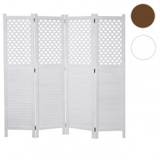 Paravent HWC-A84, Raumteiler Trennwand Sichtschutz, Ornamente 170x161cm ~ weiß