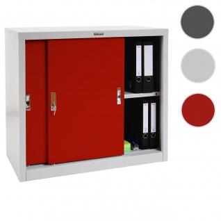 Aktenschrank Valberg T333, Metallschrank Büroschrank, 2 Schiebetüren 83x91x46cm ~ rot
