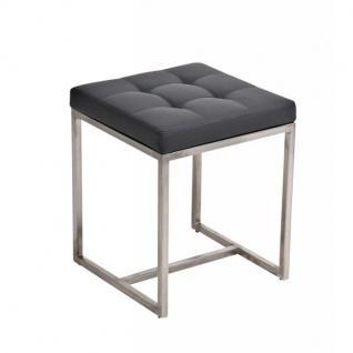 Sitzhocker Barci, Kunstleder ~ grau