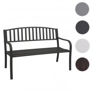 Gartenbank HWC-F43, Bank Parkbank Sitzbank, 2-Sitzer pulverbeschichteter Stahl ~ schwarz