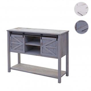 Kommode HWC-D57, Schiebetürenschrank Sideboard Schrank, Shabby-Look Vintage 81x102x34cm ~ dunkelgrau