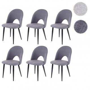 6x Esszimmerstuhl HWC-D73, Stuhl Küchenstuhl, Stoff/Textil dunkelgrau