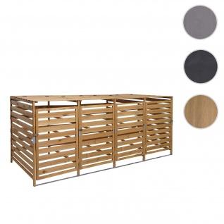 XL 4er-/8er-Mülltonnenverkleidung HWC-H62, Mülltonnenbox, erweiterbar 110x65x93cm Massiv-Holz ~ braun