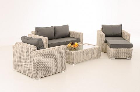 2-1-1 Gartengarnitur CP050 Sitzgruppe Lounge-Garnitur Poly-Rattan ~ Kissen eisengrau, perlweiß