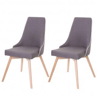 2x Esszimmerstuhl HWC-B44, Stuhl Küchenstuhl, Retro 50er Jahre Design Stoff/Textil dunkelgrau - Vorschau 2