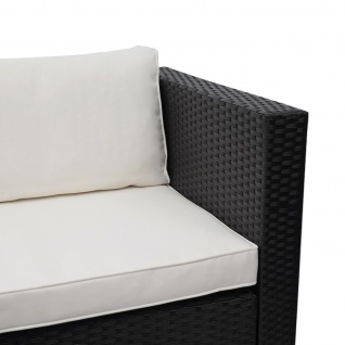 Poly-Rattan Garnitur HWC-F57, Balkon-/Garten-/Lounge-Set Sofa Sitzgruppe ~ schwarz, Kissen creme ohne Deko-Kissen - Vorschau 4