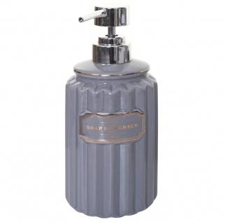 5-teiliges Badset HWC-C96, WC-Garnitur Badezimmerset Badaccessoires, Keramik grau/gold - Vorschau 5