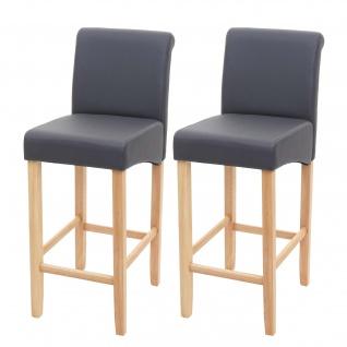 2x Barhocker HWC-C33, Barstuhl Tresenhocker, Holz ~ grau matt, helle Beine, Kunstleder - Vorschau 2