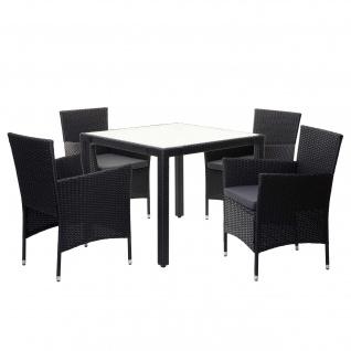 Poly-Rattan Garnitur HWC-F50, Sitzgarnitur Balkon-Set Sitzgruppe, 4xSessel+Tisch anthrazit, Kissen dunkelgrau