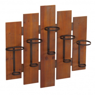 Weinregal HWC-B99, Wandregal Flaschenhalter, Holz Metall für 5 Flaschen 60x60x12cm - Vorschau 4