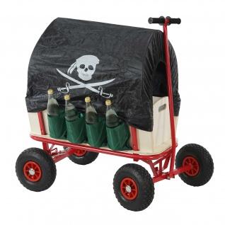 Bollerwagen inkl. Sitz, Bremse, Flaschenhalter, Dach Pirat schwarz
