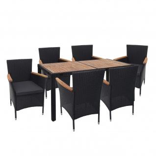Poly-Rattan Garnitur HWC-F48, Gartengarnitur Sitzgruppe, Akazie Holz anthrazit, Kissen dunkelgrau