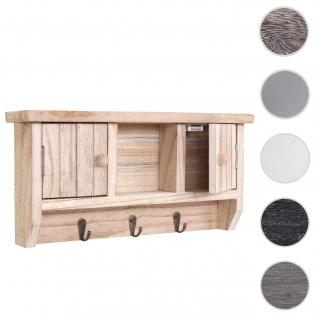 Schlüsselbrett HWC-A48, Schlüsselkasten Schlüsselboard mit Türen, Massiv-Holz ~ natur
