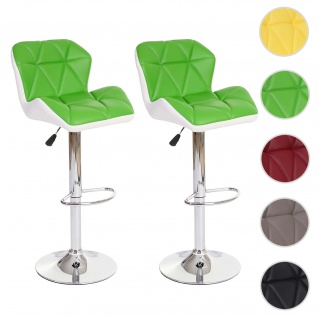 2x Barhocker HWC-A92, Barstuhl Tresenhocker, höhenverstellbar Kunstleder ~ grün