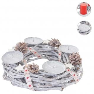 Adventskranz rund, Weihnachtsdeko Tischkranz, Holz Ø 30cm weiß-grau ~ ohne Kerzen