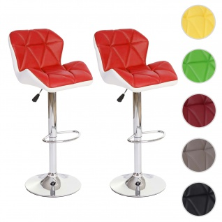 2x Barhocker HWC-A92, Barstuhl Tresenhocker, höhenverstellbar Kunstleder ~ rot - Vorschau 1