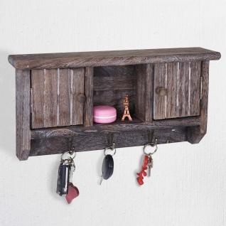 Schlüsselbrett HWC-A48, Schlüsselkasten Schlüsselboard mit Türen, Massiv-Holz ~ shabby braun - Vorschau 2