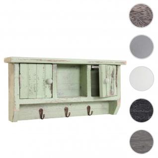 Schlüsselbrett HWC-A48, Schlüsselkasten Schlüsselboard mit Türen, Massiv-Holz ~ shabby grün